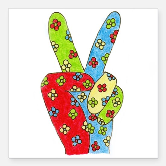 Flowery Peace Square Car Magnet