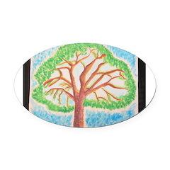 Oak Lea Pine Oval Car Magnet