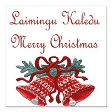 Lithuanian Christmas Square Car Magnet