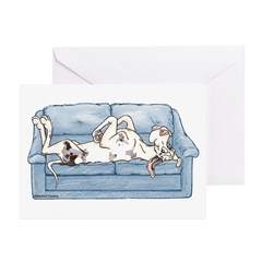 Merlequin couch Greeting Cards (Pk of 20)