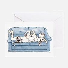 Merlequin couch Greeting Card