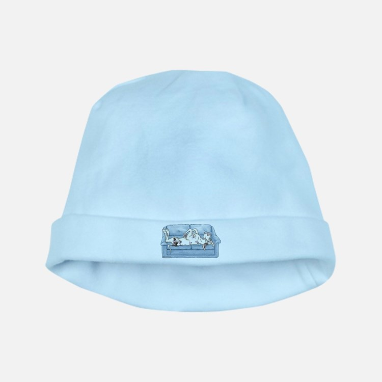 Merlequin couch baby hat