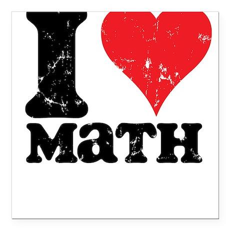 I Love Math Square Car Magnet