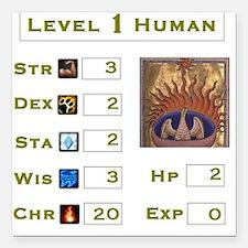 Level 1 Human Square Car Magnet