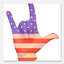 USA Flag ILY sign language Square Car Magnet