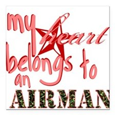 My Heart Belongs to an Airman Square Car Magnet