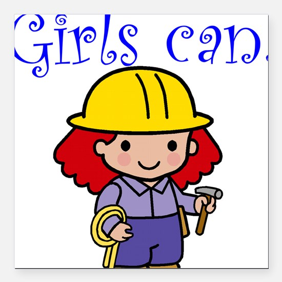 Girl Construction Worker Square Car Magnet