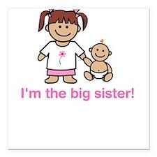 """I'm the big sister!"" Creeper Square Car Magnet"