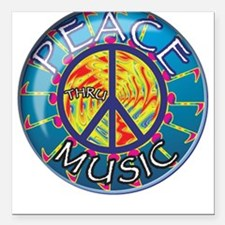 Peace thru Music Square Car Magnet
