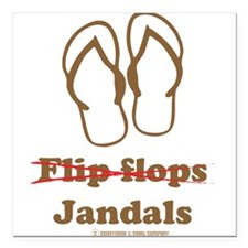 Jandal (Brown and White) Square Car Magnet
