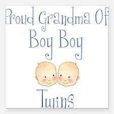 Proud Grandma of Boy Twins Square Car Magnet