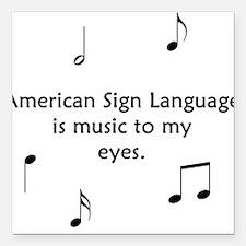Deaf Music Square Car Magnet
