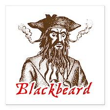 Red Blackbeard Square Car Magnet
