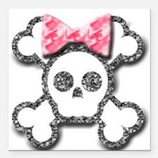 Girl Skull and Crossbones Pink Bow Square Car Magn
