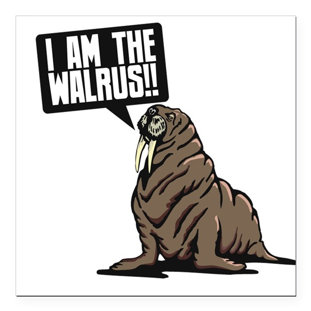 I Am The Walrus Square Car Magnet By Admin Cp5249653
