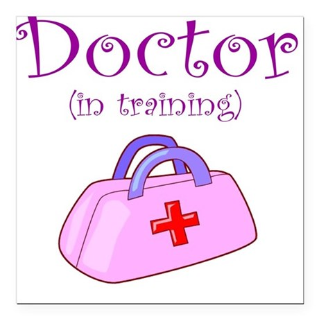 Doctor In Training Square Car Magnet