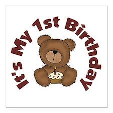 Teddy Bear 1st Birthday Square Car Magnet