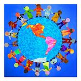 Peace world children Square Car Magnets