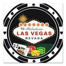 Las Vegas Poker Chip Design Square Car Magnet