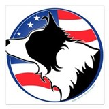 Border collie Square Car Magnets