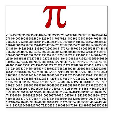 Pi = 3.1415926535897932384626 Square Car Magnet