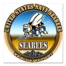 US Navy Seabees Square Car Magnet