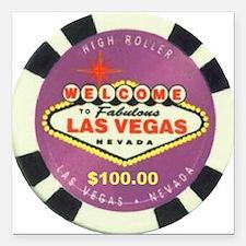 Las Vegas Poker Chip Square Car Magnet