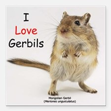 I Love Gerbils Square Car Magnet