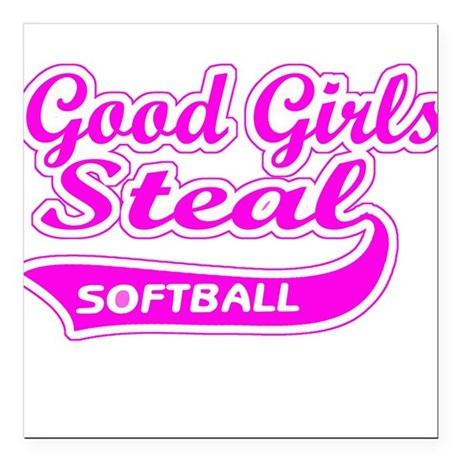 Good Girls Steal (pink) Square Car Magnet