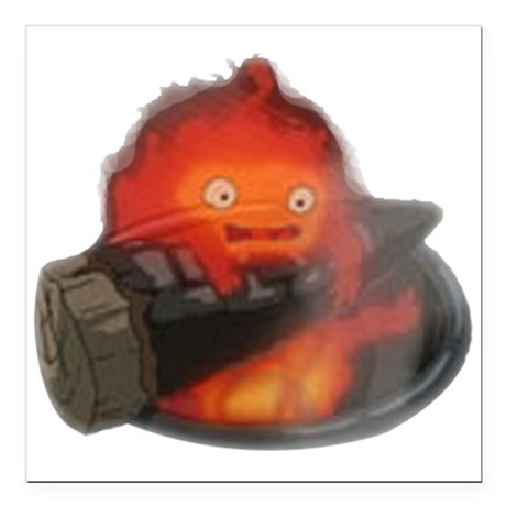 Calcifer on a log Square Car Magnet
