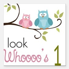 Custom Owl Birthday Square Car Magnet