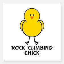 Rock Climbing Chick Square Car Magnet