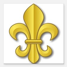 Gold Fleur de Lys Square Car Magnet