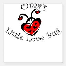 Oma's Love Bug Ladybug Square Car Magnet