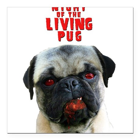 Night of the Living Pug Square Car Magnet