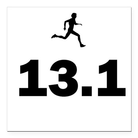 Men/Women Half Marathon Runner Square Car Magnet