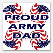 Patriotic Proud Army Dad Square Car Magnet
