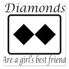 Girl's Best Friend Square Car Magnet