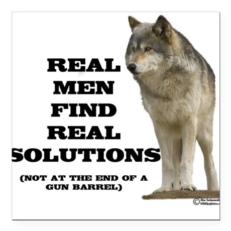 """Real Men Find Real Solutions Square Car Magnet"