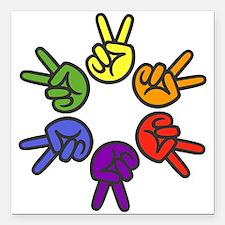 Peace Sign Fingers Square Car Magnet