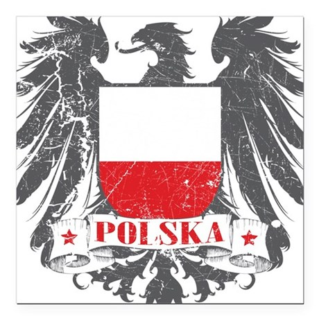 Polska Shield Square Car Magnet