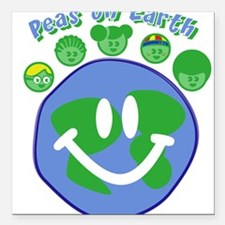 Peas On Earth Square Car Magnet