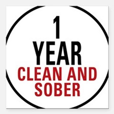 1 Year Clean & Sober Square Car Magnet