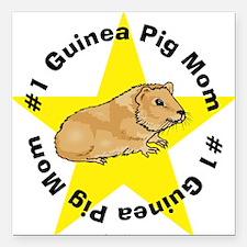 #1 Guinea Pig Mom Square Car Magnet
