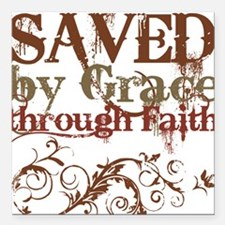 Saved by Grace Square Car Magnet