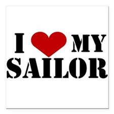 I Love My Sailor Square Car Magnet