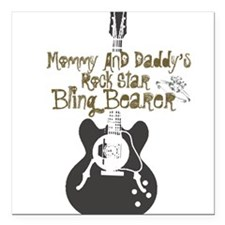 Mommy and Daddy's Bling Bearer Square Car Magnet