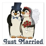 Penguin wedding Square Car Magnets