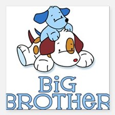 Cute Puppys Big Brother Square Car Magnet