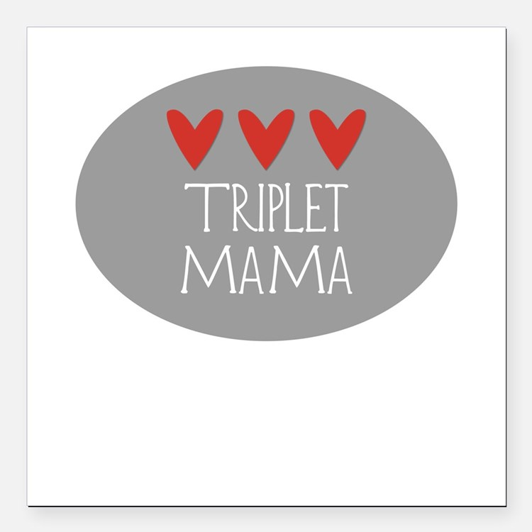 Triplet Mama Hearts Square Car Magnet